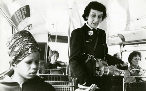 A woman bus conductor, 1980