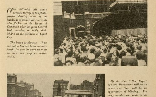 The August 1951 issue of 'Red Tape', the journal of the Civil Service Clerical Association, reports of a mass meeting on equal pay in London.