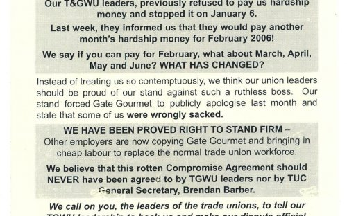Workers reject the Compromise Agreement negotiated by their union and call for continued support in June 2006