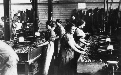 Women munition workers sorting shells during the First World War