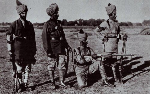Pre-1900 Indian army soldiers: a Sepoy in poshteen, an Indian Officer in full dress, a Lance-Naik and a Havildar of the Guides