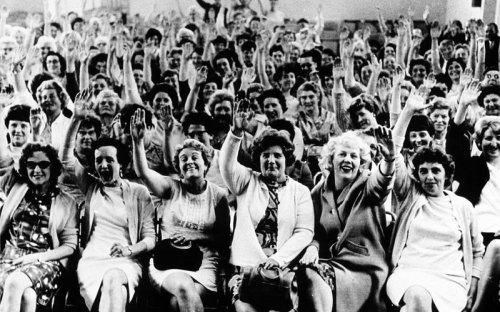 Women machinists at the Ford Motor Company plant in Dagenham took strike action on 7 June 1968 for equal pay. The women won a pay increase to 92% of men's wages.