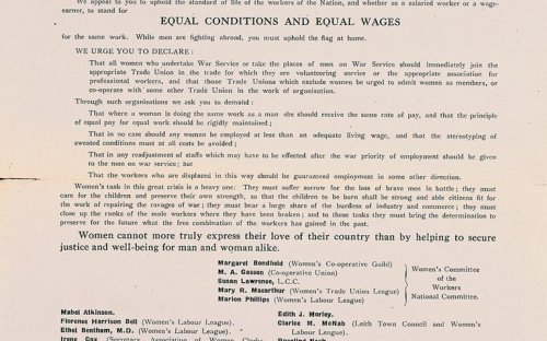 A leaflet issued by the War Emergency Workers' National committee in 1915 urges women to join trade unions, demands equal pay for equal work and condemns sweated conditions.