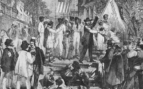 An illustration of a slave market in Rio de Janeiro, Brazil, in 1824 shows children being sold to slavery.