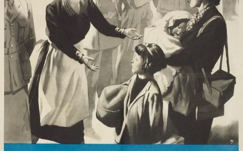 Ministry of Health poster issued in 1943 depicting work with evacuees, which was mainly done by women, as part of the war work