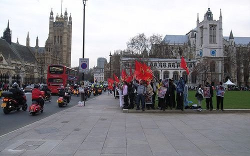 amils in London protest at the actions of the Sri Lankan government during the civil war in Sri Lanka, 2009.