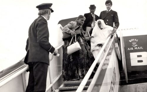 Ugandan Asians arriving in England after being expelled.