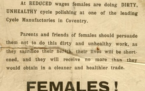 Leaflet condemning women's employment as polishers in the bycycle industry, calling for equal wages for women, around Coventry, 1908