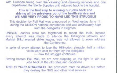 Hillingdon hospital, London (1995-2000): a leaflet outlining the stand  taken by the cleaners at Hillingdon hospital against privatisation