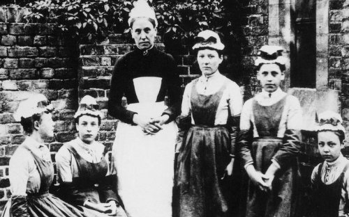 Domestic staff at a household, 1905. At the beginning of the 20th century, the largest group of women workers were employed in domestic services.