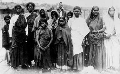 "Indian female ""Coolie woolwashers"" in 19th century South Africa. Image published in 19th century"