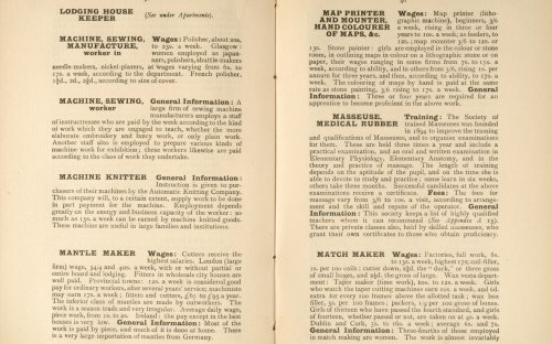 A guide to occupations available to women was published by the Women's Institute in 1898. Women were barred from many occupations during this time.