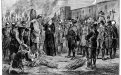 Spaniards burning Atahualpa, Inca ruler, at stake, with monk holding crucifix to right of Inca. 1891