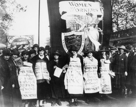 Women campaigning against the Unemployment Insurance Act in 1920 because the act provided for lower rates of unemployment benefit for women and women were refused benefit if they rejected work in the domestic service (unlike men).