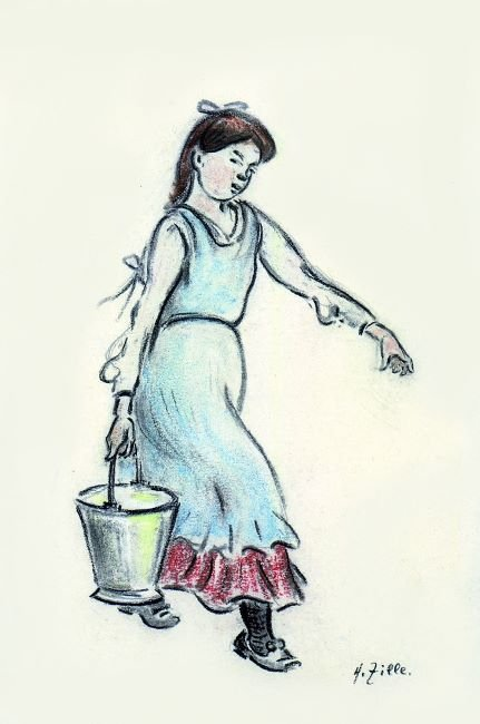 girl carrying water Wasserträgerin: crayon and coal sketch.