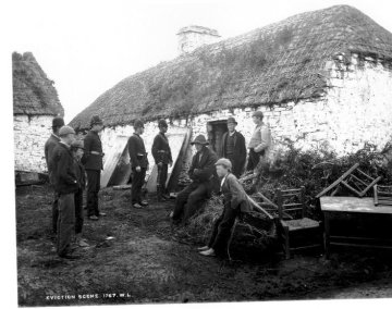 Irish family evicted by their landlord during the Irish potato famine at Moyasta, County Clare.
