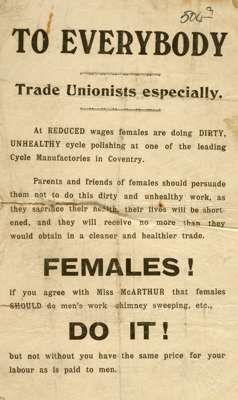 th and early th century striking women leaflet condemning women s employment as polishers in the bycycle industry calling for equal wages for women around coventry 1908