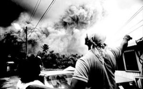 The eruption of the Sufriere Hills volcano on the Caribbean island of Montserrat on September 22,1997.