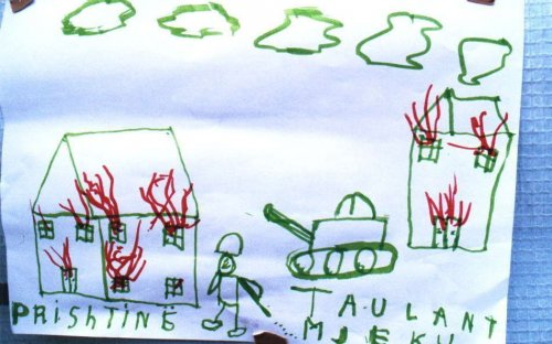A drawing made by a refugee child, former resident in Pristina, depicts his horrific experiences in Kosovo.