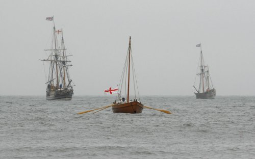 A reenactment of the first landing of settlers in North America on the 400th anniversary of the original event.
