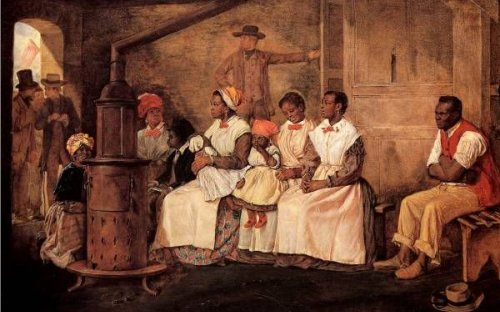 A painting from 1853 shows men, women and children waiting to be sold into slavery in Richmond, Virginia in the United States.