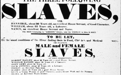A poster of a slave auction in the British Atlantic Colony of St. Helena. The event was held May 18, 1829