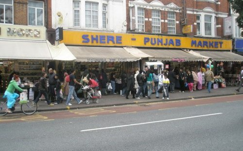 The market at Southall, UK, home to many migrants from Punjab in India.