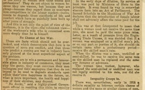 A newspaper report on the successful strike by women tram drivers in August 1918 for the same rate of war bonus as was given to the male workers.