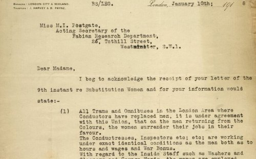 This letter dated 10 January 1918 confirms that women working as conductors, inspectors on trams and buses have the same working hours and conditions, and the same wages and war bonuses as the men they have replaced. It also confirms that at the end of th