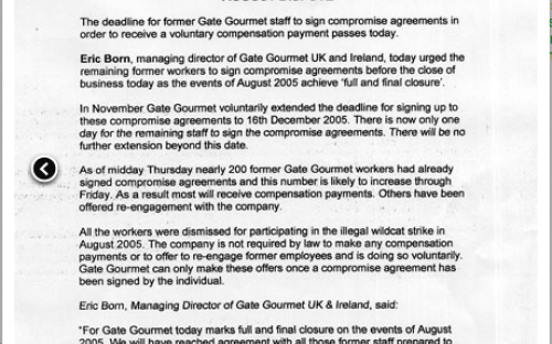 Gate Gourmet announces 'full and final closure' of the dispute through its compensation agreement, which avoids any mention of compulsory redundancies