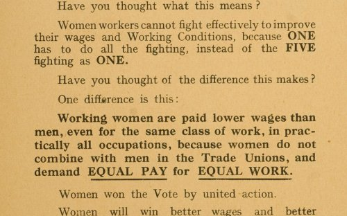 Recruitment leaflet as part of the TUC national campaign in 1926 to recruit women in the trade unions
