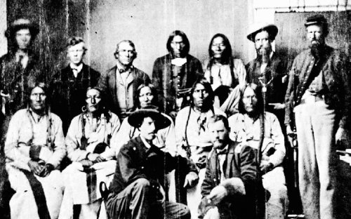 The Cheyenne chief, Black Kettle, and his associates who were slaughtered when they came for a peace council on September 28, 1864, known as the Sand Creek massacre.