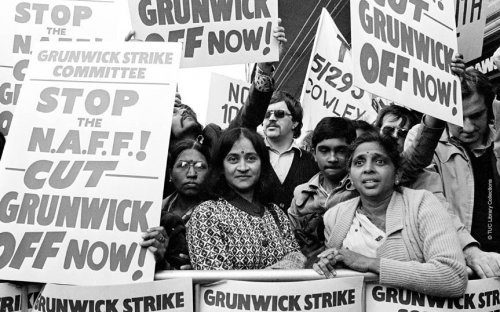 The strikers on the picket line