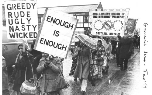 Grunwick strikers and their supporters on a demonstration in 1977