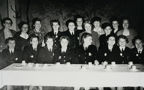The women delegates at the 1943 Fire Brigades Union conference where the union agreed to capaign for a charter for equal pay and to end the sacking of pregnant women.