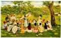 A painting of a group of Indian indentured workers resting under a tree in Trinidad, 1903