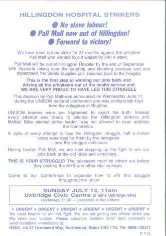 a leaflet outlining the stand  taken by the cleaners at Hillingdon hospital against privatisation