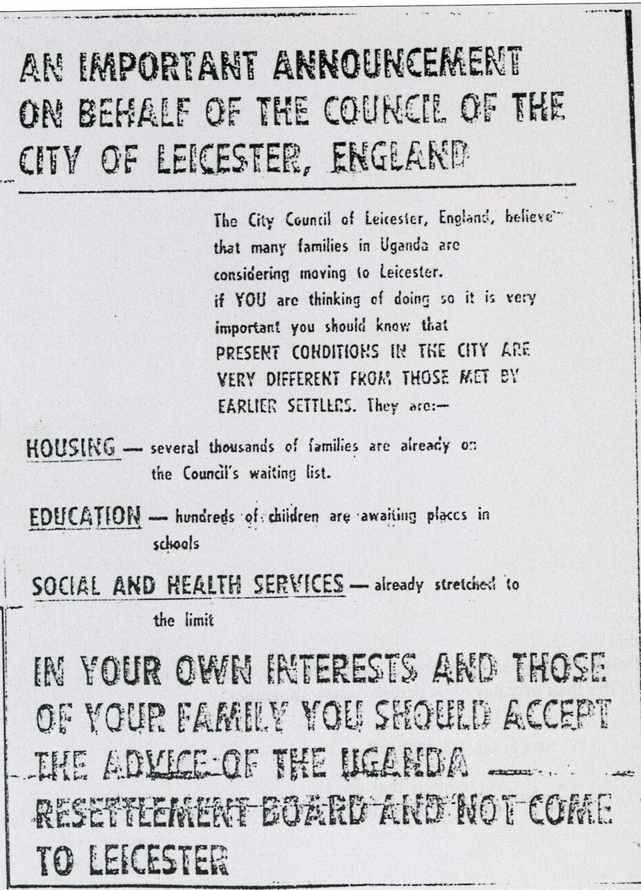 An advert placed by Leicester City Council in the Ugandan newspaper Ugandan Argus telling Ugandan expellees not to come to Leicester.