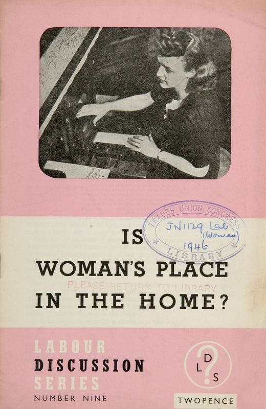 A Labour pamphlet after the response of the report of the Royal Commission for equal Pay 1946, which concluded tentatively that teachers and some civil servants might benefit from equal pay, but also argued that unequal pay was necessary to secure motherh