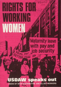 Poster produced by the Amalgamated Union of Engineering Workers in 1976 on the maternity leave rights under the Employment Protection Act 1975.