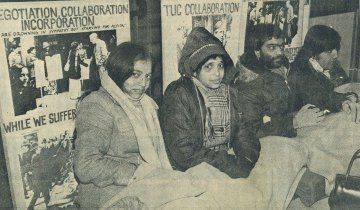 Defiant Grunwick strikers including Jayabe Desai stage a hunger strike on the steps of the Congress House