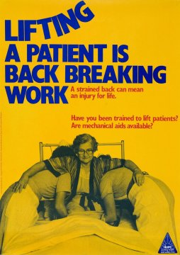 Poster produced by National Union of Public Employees for nursing and other health care workers in 1982.