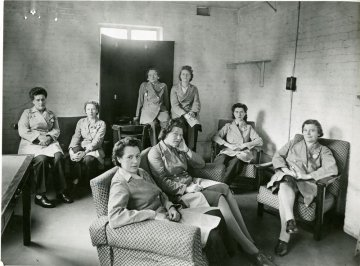 Women Bus drivers at Fulwell station in Twickenham in 1947